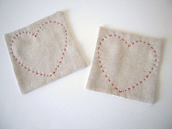 Set of Simple Linen Coaster/Red Stitch