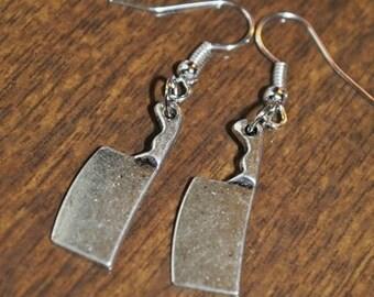 Butcher Knife Earrings in Silver