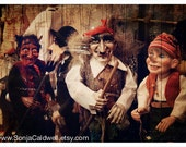 Marionette photo, Halloween decor, Red Devil, Chaplin, Pinocchio, puppets, Fall, Autumn, brown - 8x12 Original Fine Art Photography