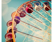 Ferris Wheel - French carnival photography, colorful, turquoise, nursery decor, Paris Fun Fair - 8x8, 12x12  Original Fine Art Photograph