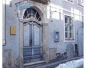 Art Nouveau Door, Riga, Latvia, Museum of Pharmacy, winter, snow, lavender, grey, gray - 9x12 Original Fine Art Photograph