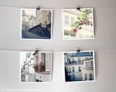 Paris photo set, buildings and flowers, architecture, window box, slate blue, white, floral - four 8x8 Original Fine Art Photography