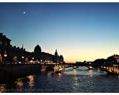 Paris - Down by the River - bridges, crescent moon, sunset, night, blue  5x7 - Original Fine Art Photograph