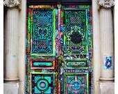 Art Door - Paris Door Photography, street art , old door, France, fluorescent colors 8x12, 10x15, or 16x24 Original Fine Art Photograph