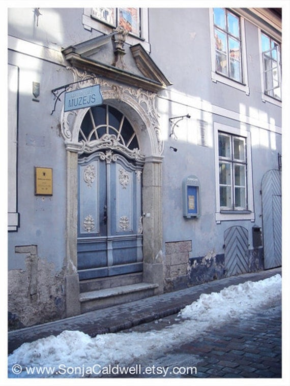 Art Nouveau Door, Riga, Latvia, Museum of Pharmacy, winter, snow, lavender, grey, gray - 9x12 Original Fine Art Photograph