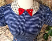 40s I Love Lucy Dress XS/S with adorable rhinestone button detailing
