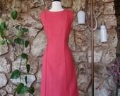 1960s Pendleton Mod Coral Sheath Dress
