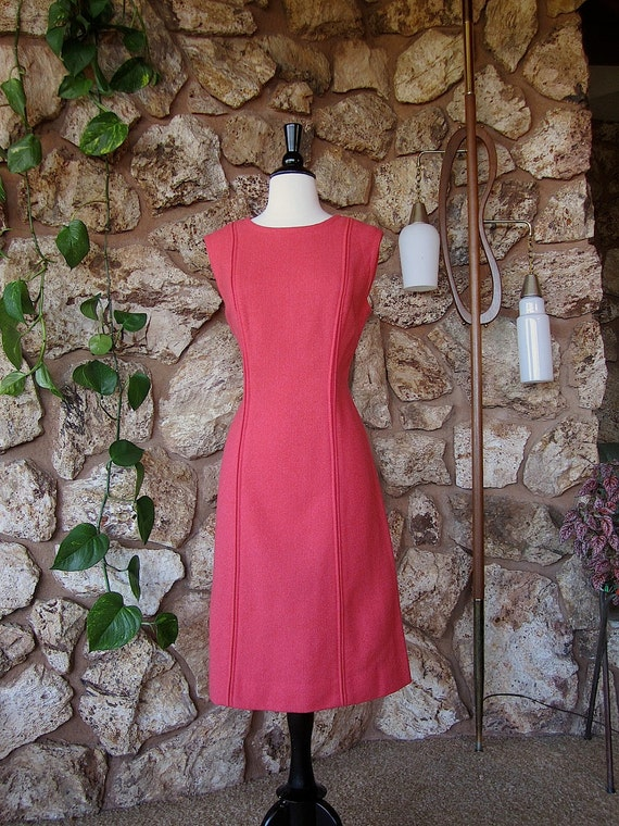 1960s Pendleton Mod Coral Sheath Dress