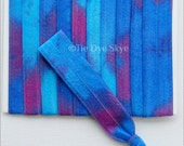 Ombre Tie Dye Elastic 3 Yards Bahama Blues Tie Dyed Fold Over Elastic