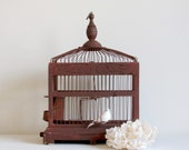 Rustic vintage decorative birdcage - wood and wire