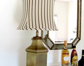 Vintage tea canister lamp with black beige and white shade, Chinoiserie brass table lamp