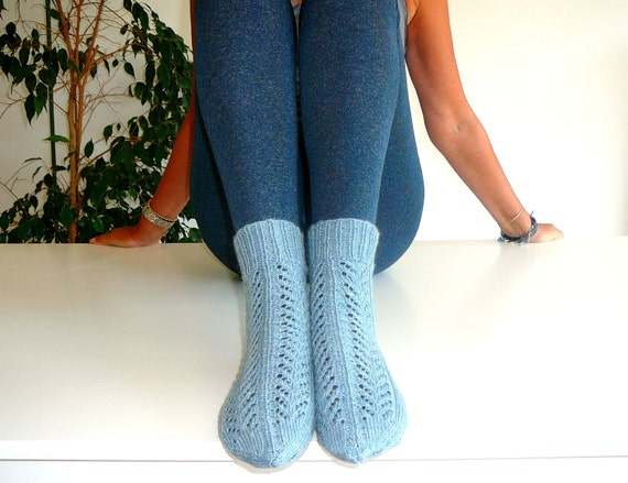 Blue Lacy Socks