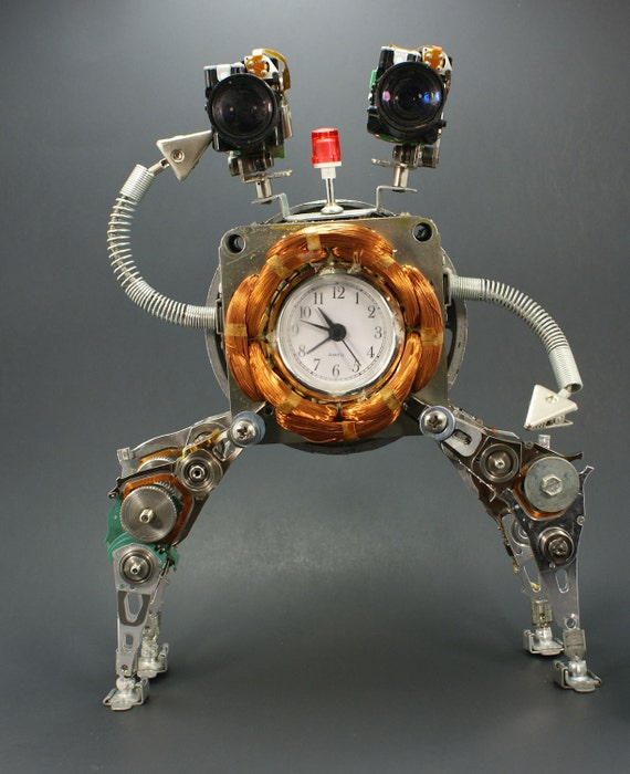 Robot Clock Sculpture Recycled Vintage and Modern Electronic Parts,Steampunk