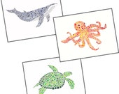Set of 3 - Octopus, Whale and Turtle - 8x10 limited edition prints