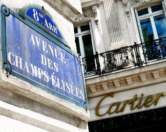 Paris Photography - Champs Elysees Photograph - Parisian Decor - French Print Elegant Royal Blue Photo Shopping Cartier Sign France