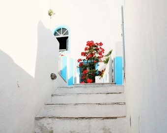Greece Photography - Santorini Photograph White Decor Turquoise Blue and Red Pink Flower Print Greek Art Mediterranean Rustic Steps