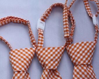 Tangerine Gingham Clip on Necktie - Infant, Toddler, Boys