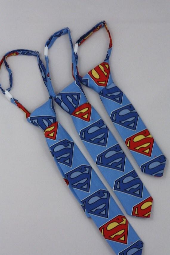 Superman Clip on Necktie on Blue -  Toddler