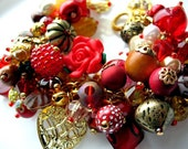Charmed in hues of Red and Gold - 2 in 1 bracelet and necklace convertible jewelry - Flat Rate Ship