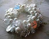 Something New, Something Blue - Bridal Charm Cha Cha Bracelet - Wedding Bride Bling - 2 in 1 convertible jewelry