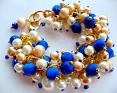 Royal Blue and Gold Cha Cha Bracelet - Vintage Japanese silk thread beads, glass pearls, swarovski crystal - upcycled recycled