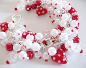 Valentine's Day Lovers Lane Red and White Cha Cha Charm Bracelet - Polka Dots - Glass Pearls Lampwork Glass Hearts Crackle Glass