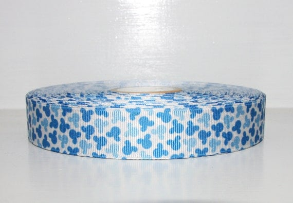 3 YARDS Blue Mickey Mouse grosgrain ribbon 7/8 Inch