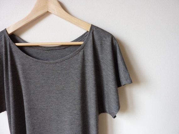 Soft Gray Drape T-shirt Top
