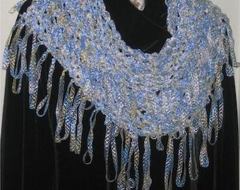 Light shiny ribbon yarn scarf