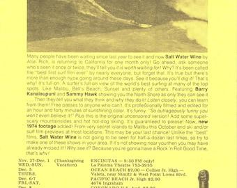 Vintage Surf Movie Handbill-Original-1974-SALT WATER WINE