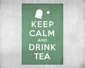 Keep Calm and Drink Tea Vintage Inspired 8x10 Poster Print by Caramel Expressions