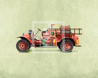 Classic Vintage Vehicle Red Firetruck 10x10 Giclee Canvas Wall Art Decor Room Print by Caramel Expressions - FREE Shipping