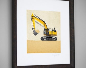 Construction Vehicle Yellow Excavator Transportation 8x8 Wall Art Room Decor Print by Caramel Expressions