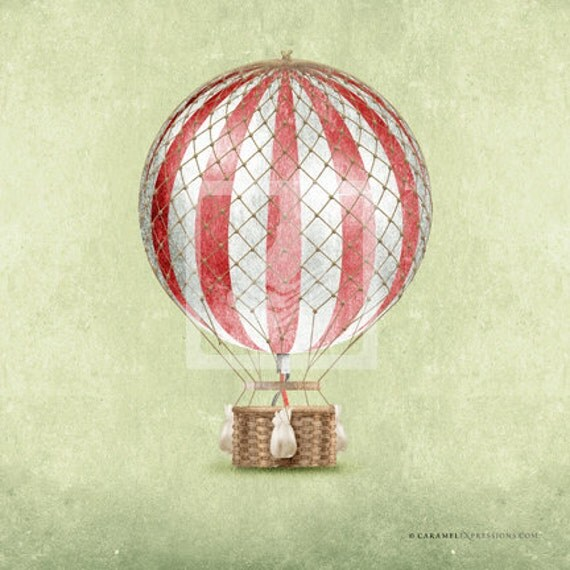 Items similar to Classic Vintage Style Red Hot Air Balloon ...
