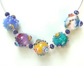 Bright and Colorful Necklace - Handmade Lampwork Beads with Gemstones and Silver