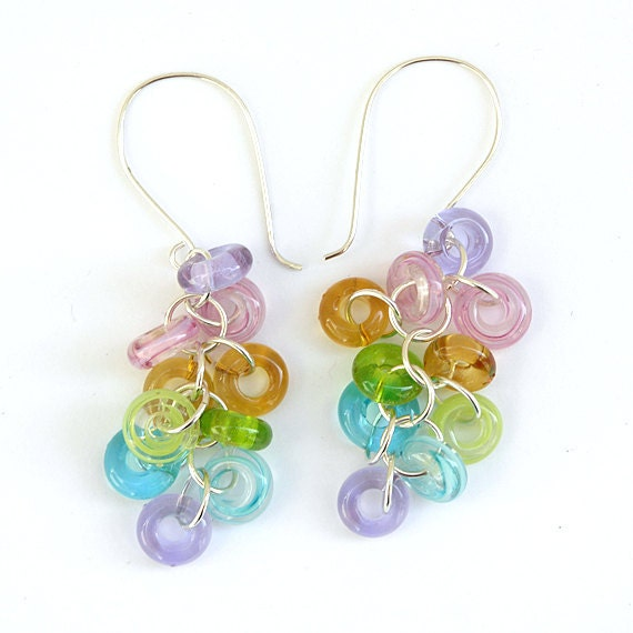 Colorful Glass Earrings - Handmade Lampwork Beads and Sterling Silver
