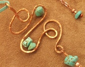 Hammered copper pendant necklace with chalk turquoise