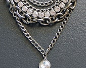 Gun Metal Necklace with Austrian Crystal Rhinestones and Swarovski Crystal Pendant in Pewter