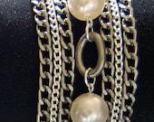 The CORINNE - Swarovski Pearl, Silver Plate and Gun Metal Bracelet