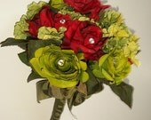 Bridal Bouquet in Red and Green, 1/2 price, was 65. now 35. Silk Wedding Bouquet