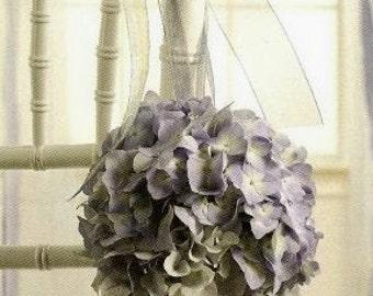 Hydrangea Kissing Ball,  Set of 4, Pomanders,  Pew Decorations,Blue, Purple, Marsala, White, Green, Ivory Hydrangea Kissing Balls