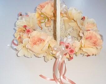 Flower Girl Basket with Silk Flowers, Peach Flowergirl Basket, Silk Flower Basket