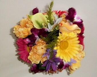 Bridal Wedding Bouquet, Bridesmaids Bouquets, Silk Wedding Flowers, Centerpieces, Fall Wedding Flowers, Tropical Silk Bouquet