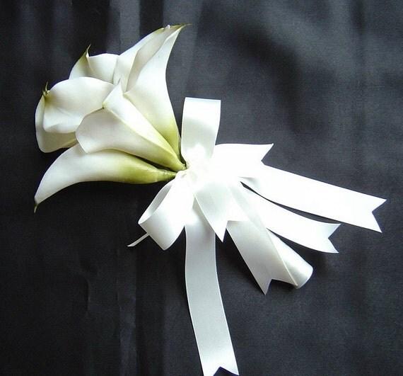 White Calla Lily Bridal Bouquet, Pink Calla Lily  Bouquet, Silk Calla Lily Bouquets,  Bridesmaids Bouquets