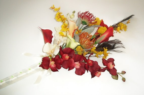 Tropical Wedding Bouquet with Peacock Feathers,  Arm Bouquet, Hawaiian Wedding Bouquet, Destination Wedding Bouquet
