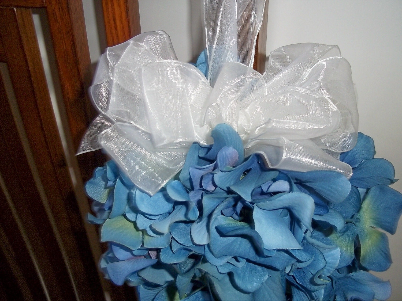 Silk Hydrangea Kissing Ball For Pew Decorations Wedding Pew