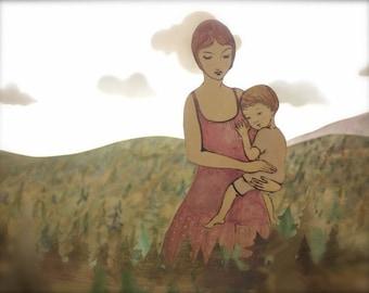 When she held her child... landscape version 8x10