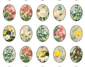 vintage flowers 3x4 cm 30x40 mm oval images Printable Download Digital Collage Sheet diy altered art jewelry pendant necklace