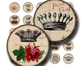crowns 1 inch round images Printable Download Digital Collage Sheet 1 inch circle diy jewelry pendant bottle cap bottlecap