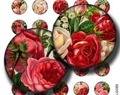 vintage roses 1 inch round images Printable Download Digital Collage Sheet 1 inch circle diy jewelry pendant paper craft scrapbooking